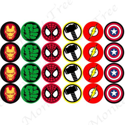 superhero ironman thor spiderman flash hulk edible cake image fondant cupcake