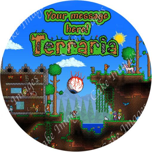edible image fondant cake terraria
