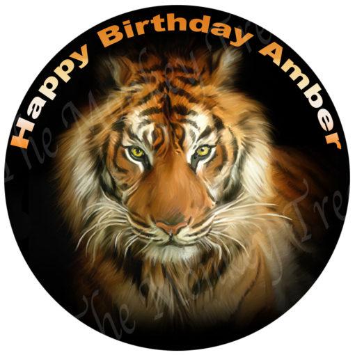 edible image fondant cake tiger black white yellow