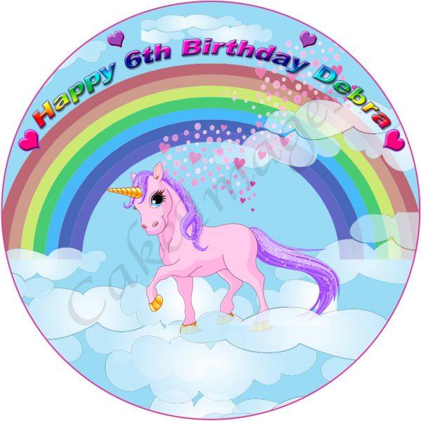 edible image fondant cake unicorn rainbow fairy magic