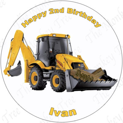 construction digger edible image cake