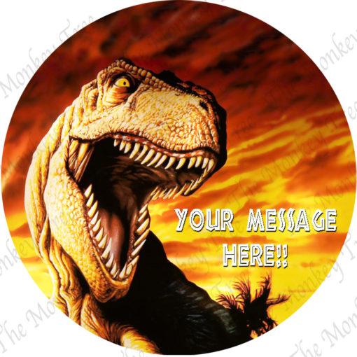 T Rex dinosaur edible cake image fondant jurassic world birthday