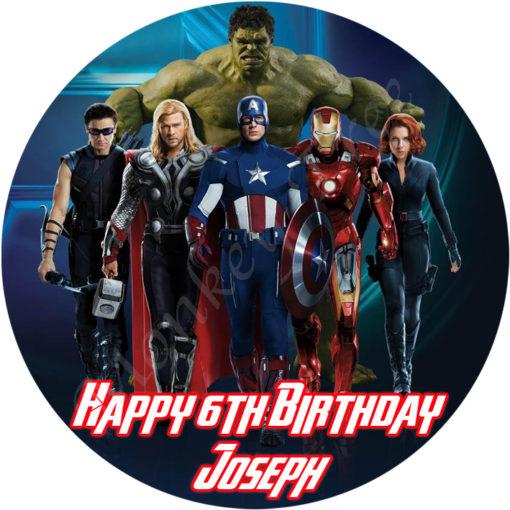 Avengers edible image cake fondant