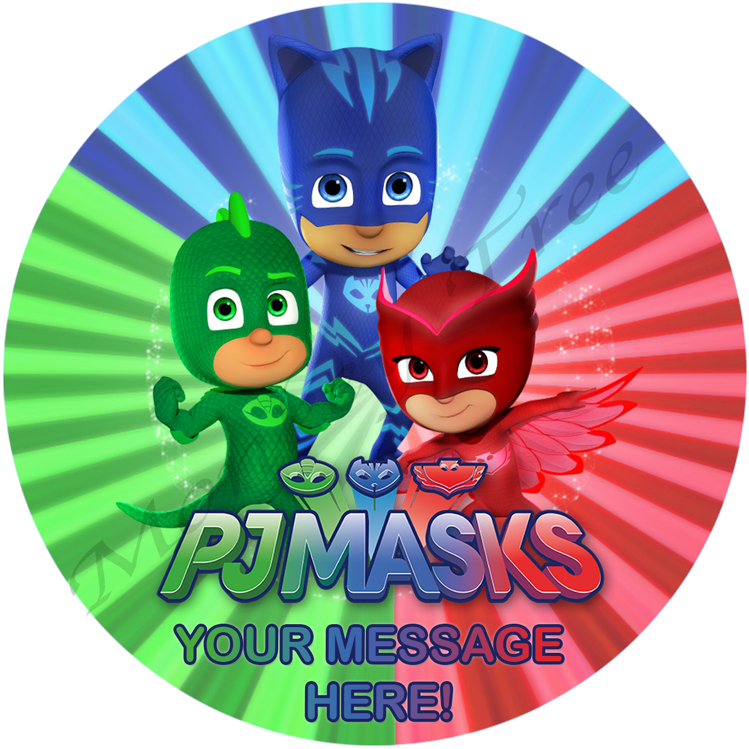 PJ Masks Personalised Edible Cake Image | The Monkey Tree