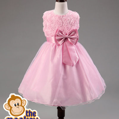 dress rosette flower girl princess fairy wedding