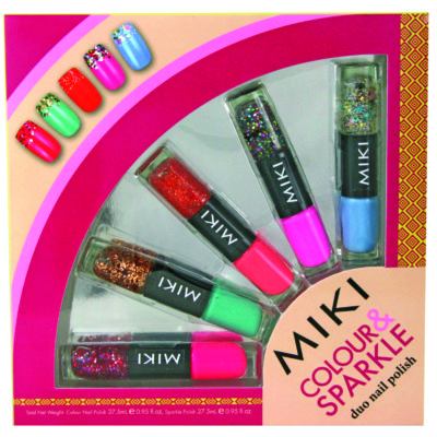miki colour and sparkle nail art