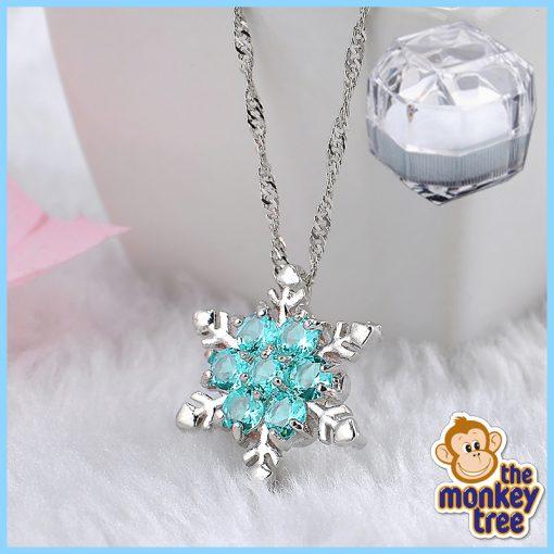frozen snowflake necklace Christmas Elsa pendant silver