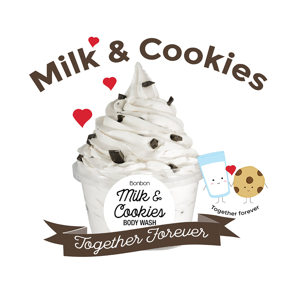 bonbon milk cookies body wash chocolate