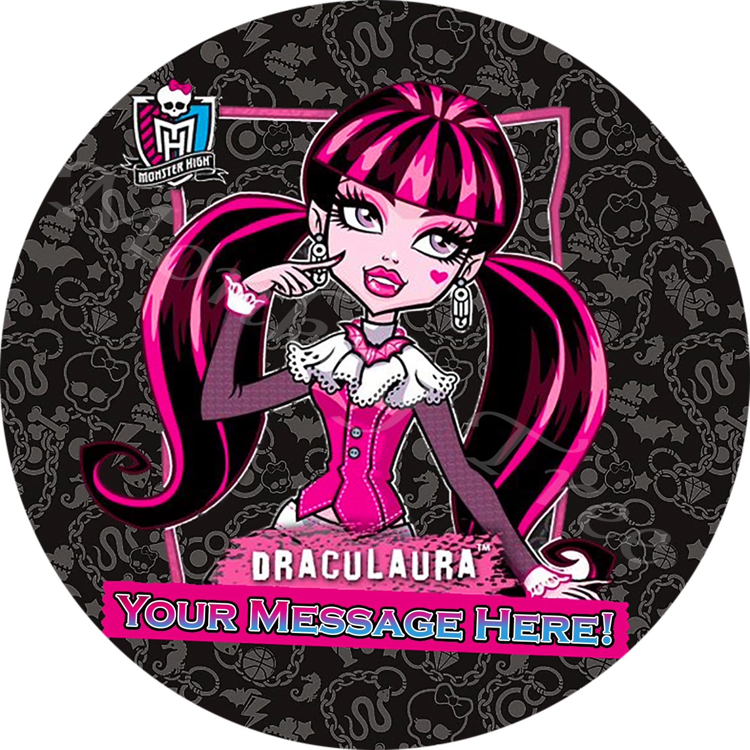 Uncategorized Monster High Draculaura monster high draculaura personalised edible cake image the music disco fondant cake