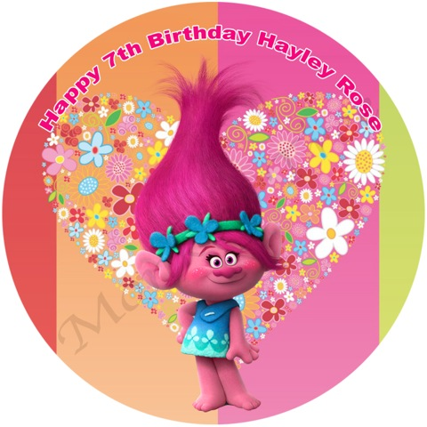 Trolls 'Poppy' Edible Cake Image | The Monkey Tree