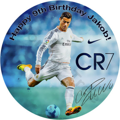 Ronaldo edible cake image football soccer party birthday