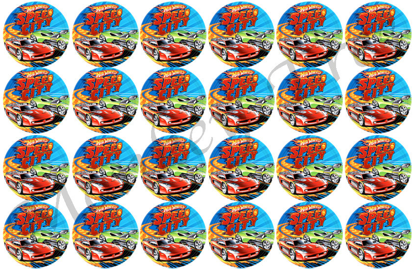 Hot Wheels Edible Cupcake Images Set Of 24 The Monkey Tree