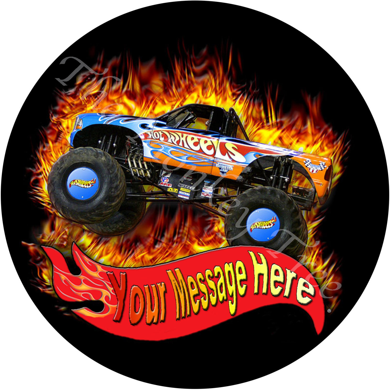 Hot Wheels Monster Truck Personalised Edible Cake Image The Monkey