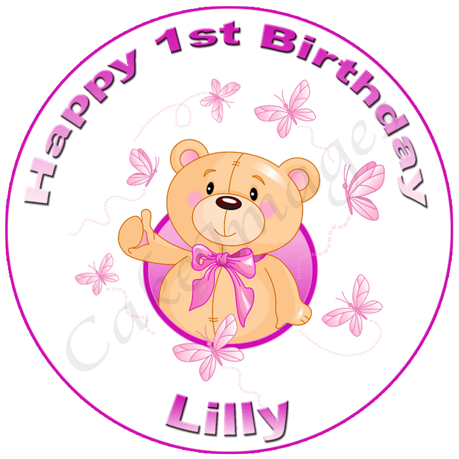 first birthday teddy party edible image baby