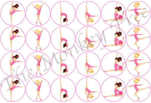 gymnastics gym pink cupcake birthday topper