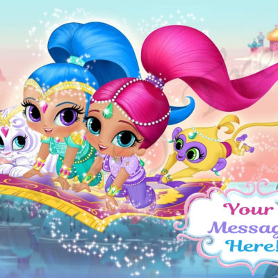 shimmer and shine edible cake topper photo birthday cake