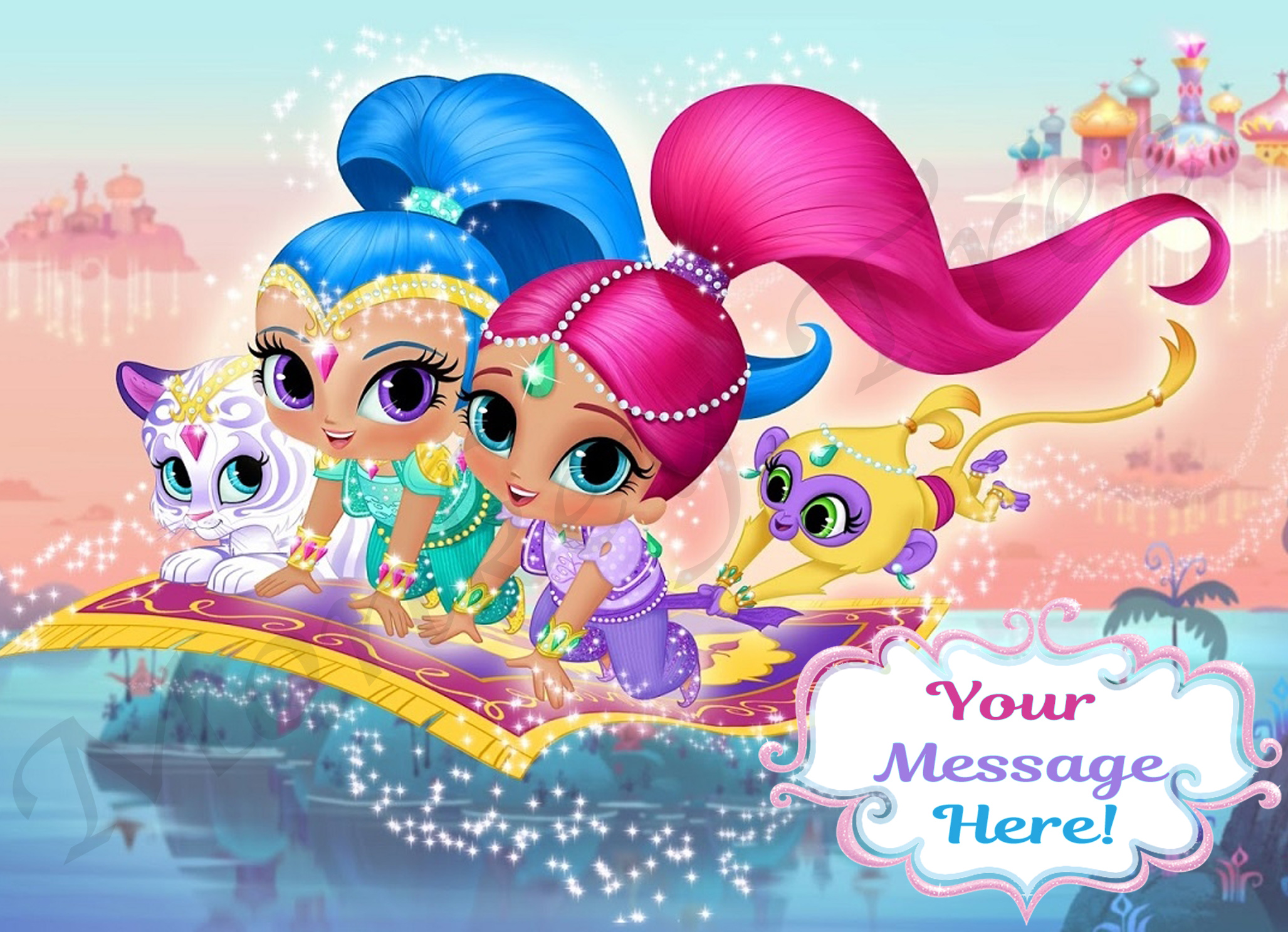 Shimmer And Shine Personalised Edible Cake Image Rectangle