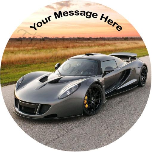 Hennessey Venom silver car edible image cake topper