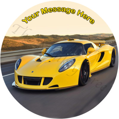 Hennessey Venom yellow car edible icing image cake topper birthday fast car