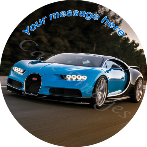 Bugatti Chiron car edible image cake topper