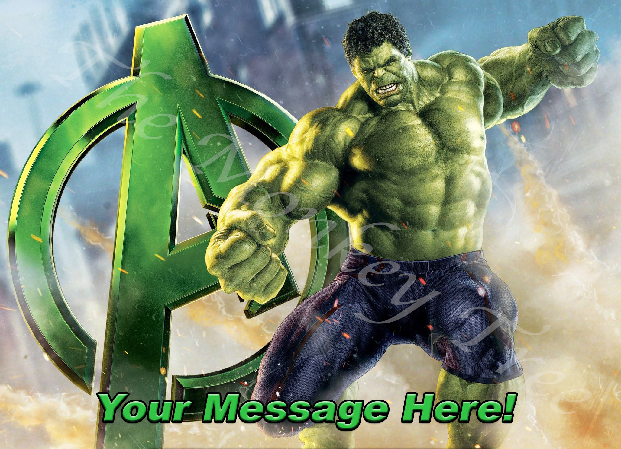 Incredible Hulk Personalised A4 Edible Image Cake Topper 2 The
