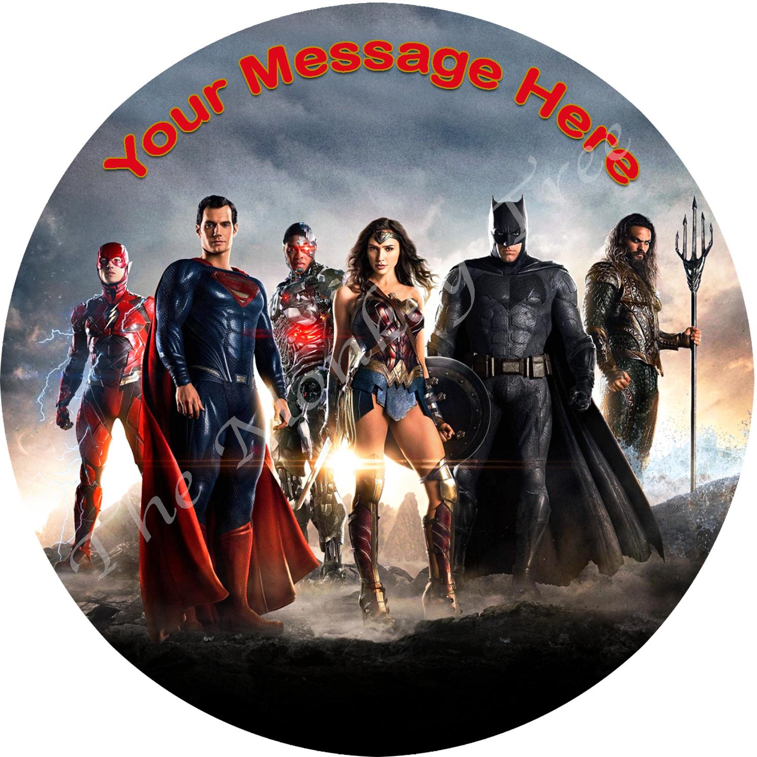 Wonder Woman Justice League Edible Cake Image Topper Birthday Party Fondant Superhero Superman Batman Flash
