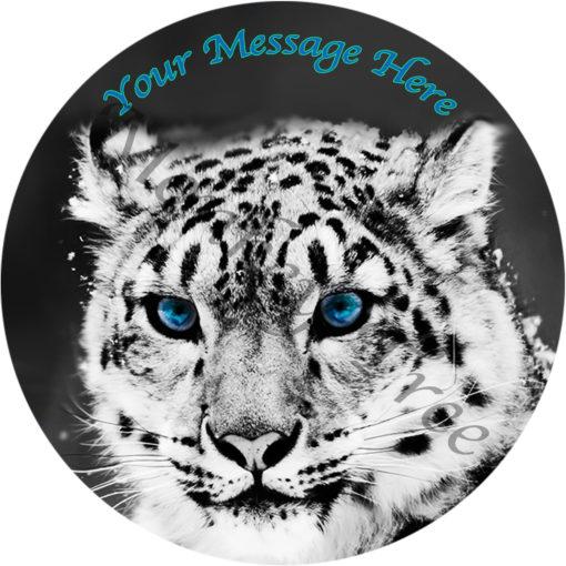 snow leopard edible cake image topper birthday fondant zoo