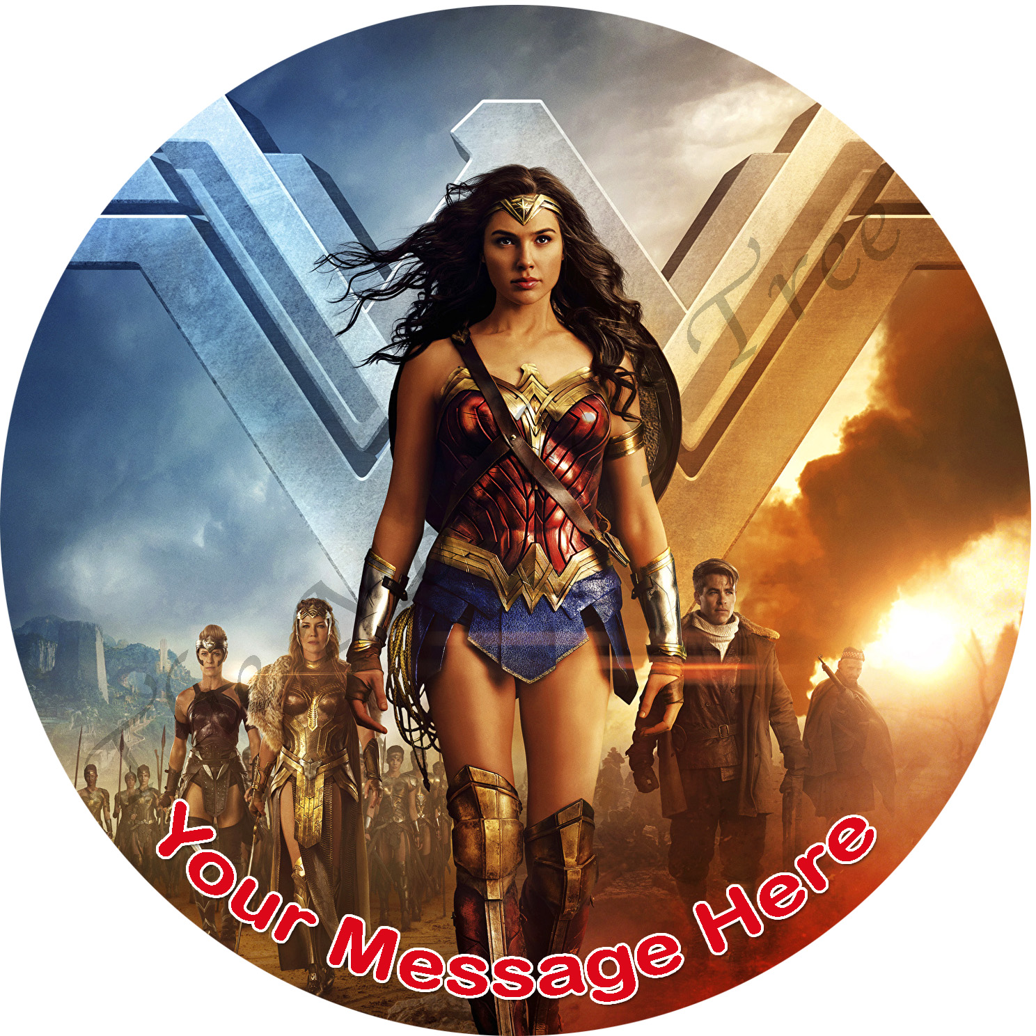 Wonder Woman justice league edible cake image topper birthday party cake fondant superhero
