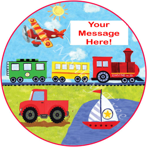 planes trains and trucks birthday cake edible image topper party