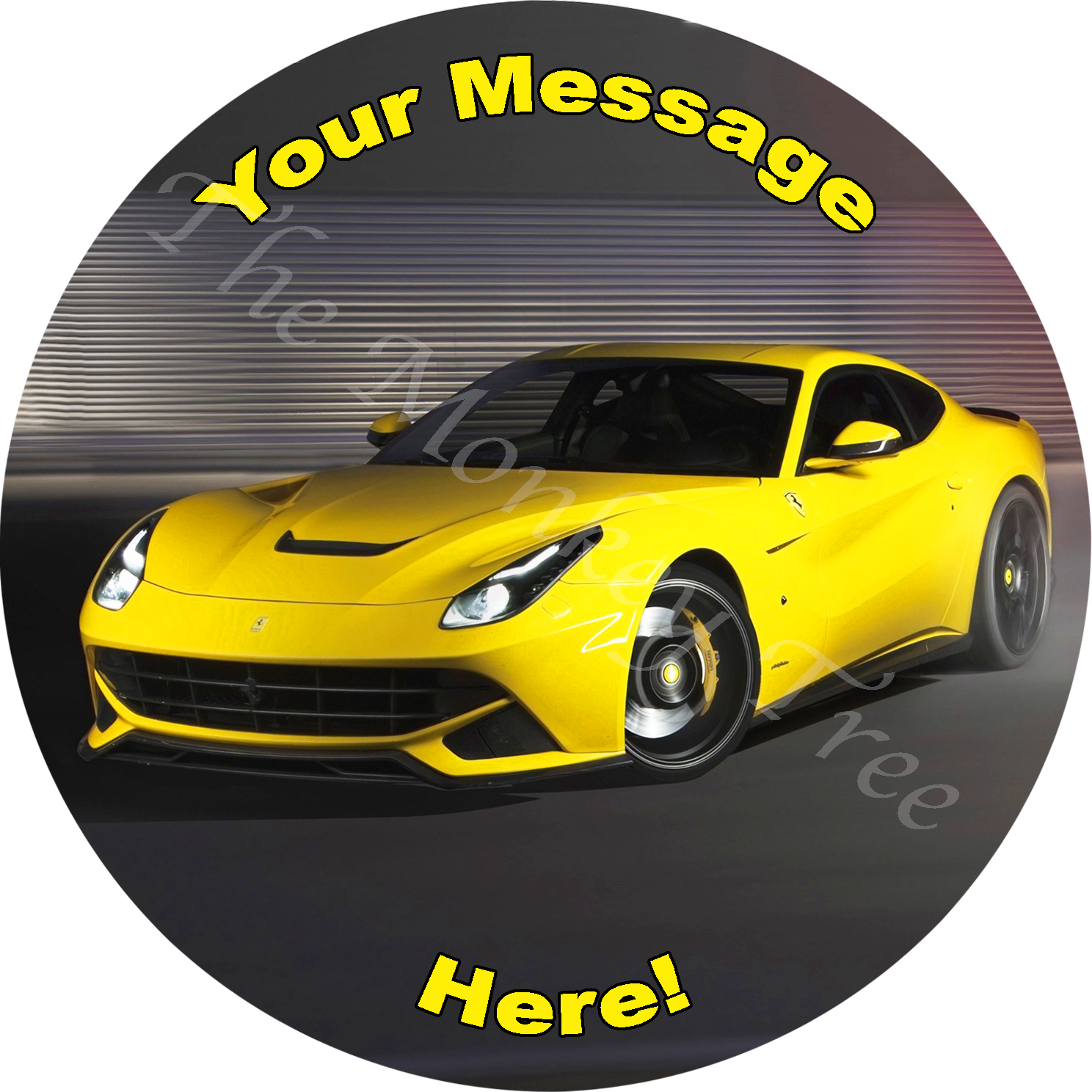 Ferrari f12 yellow car edible icing image cake topper birthday fast car