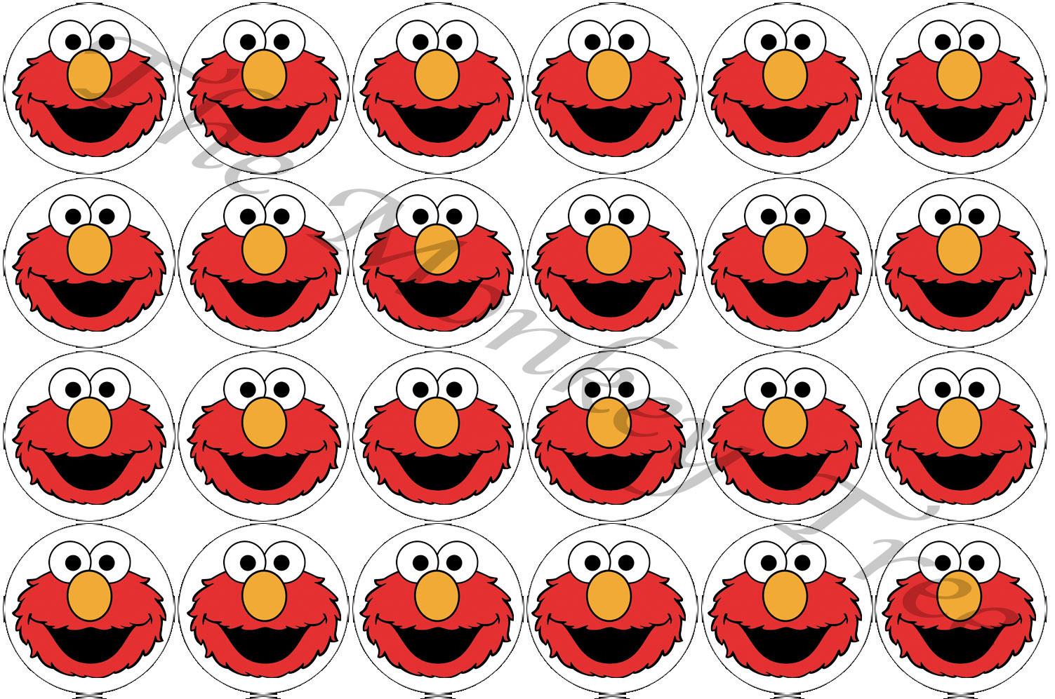 Elmo Face Edible Cupcake Topper Birthday Party Cake Image Fondant