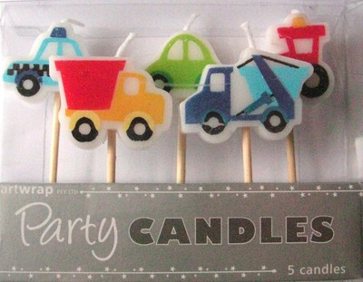 trucks diggers candles police birthday party cake