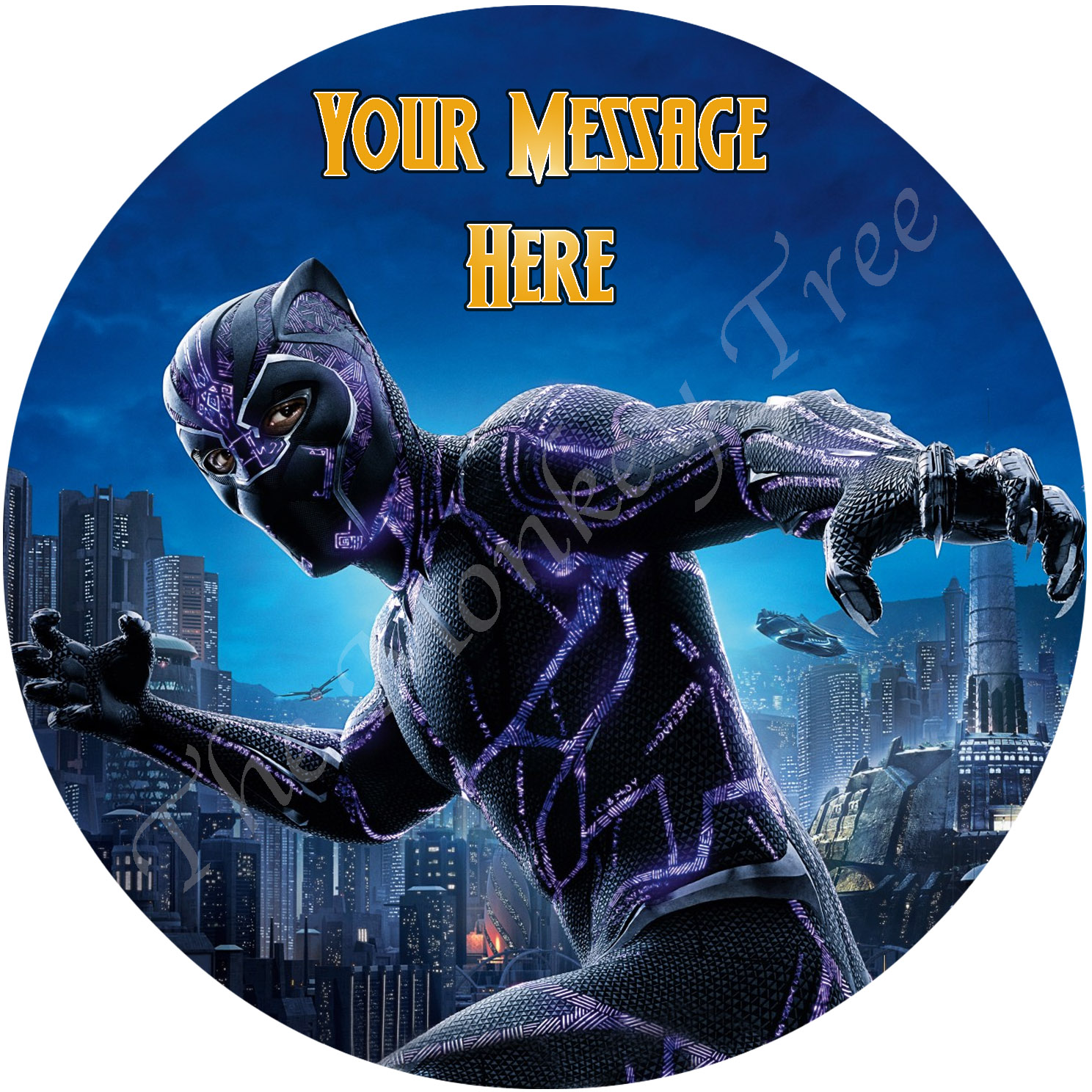 Black Panther Personalised Edible Cake Image 1 The