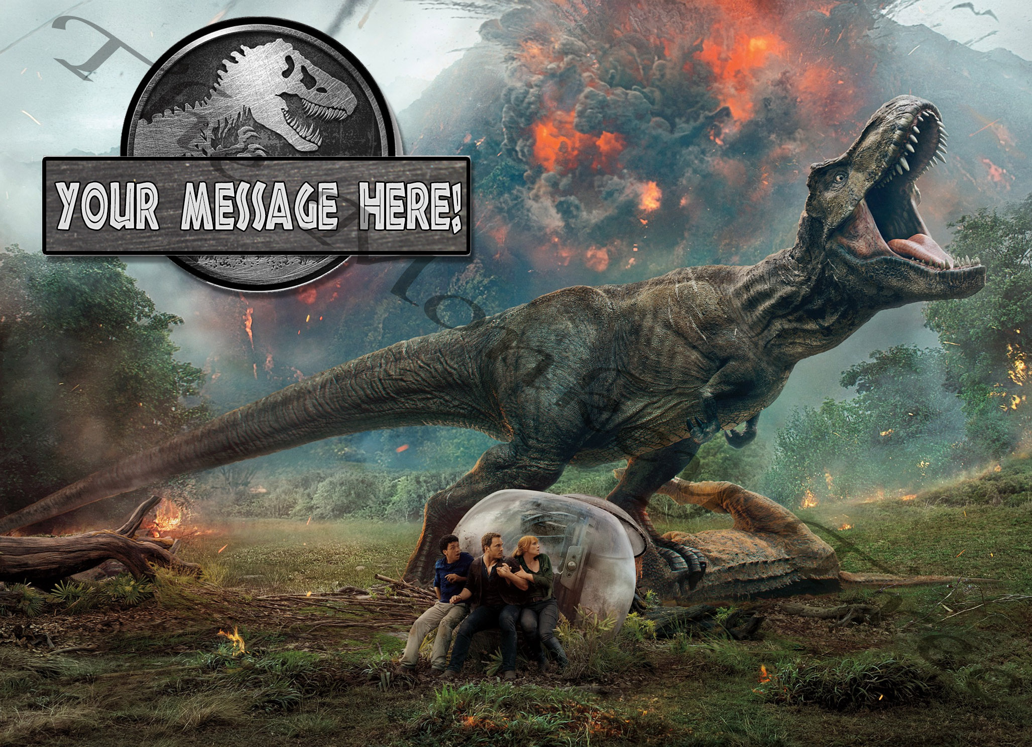 Jurassic World Fallen Kingdom T Rex Dinosaur Edible Cake Image Party Birthday