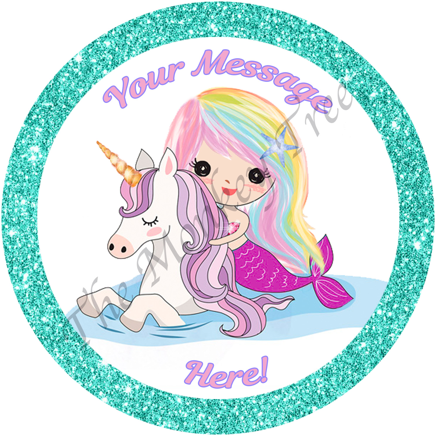 mermaid unicorn edible cake image birthday party magical glitter