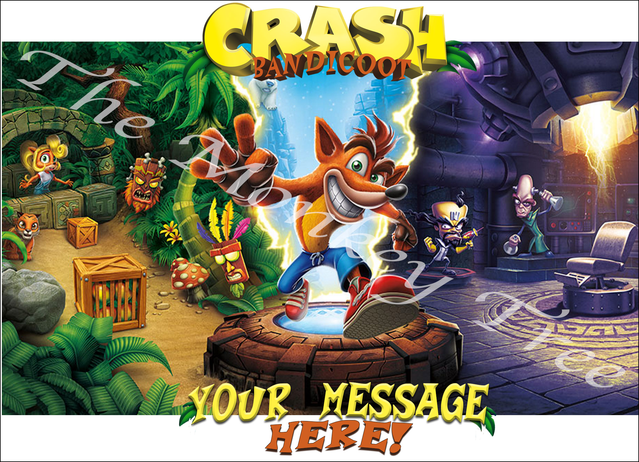 Crash Bandicoot Personalised A4 Edible Cake Image Topper The