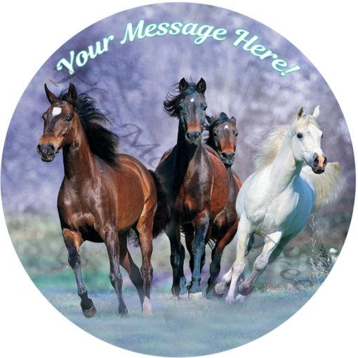running horses edible cake image fondant