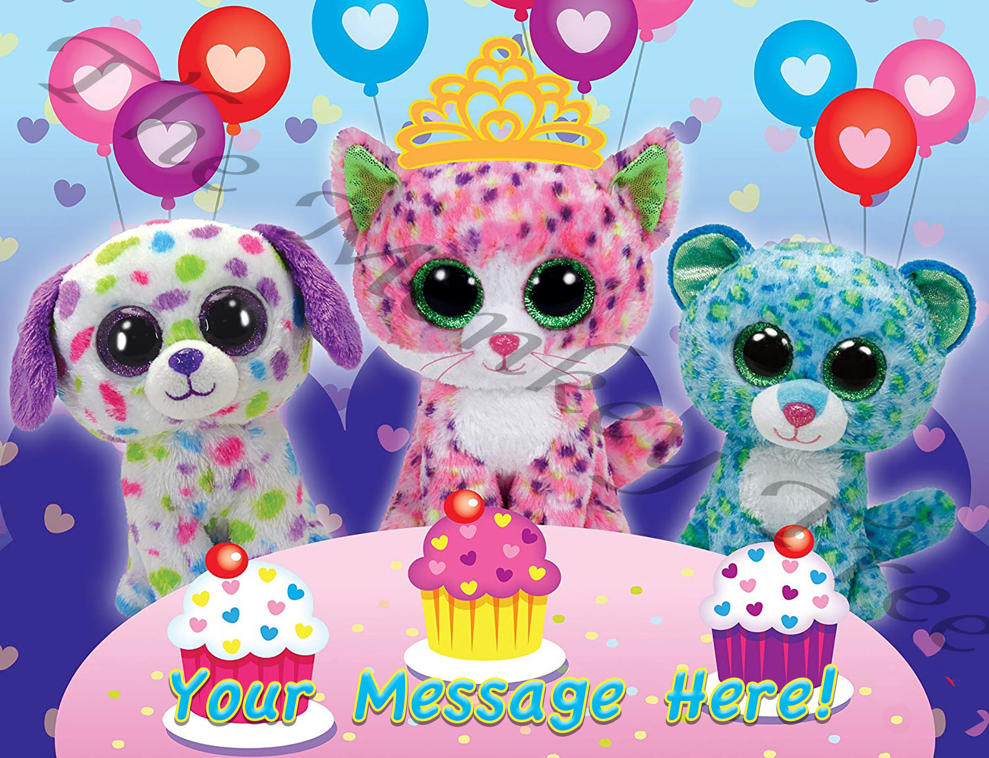 Beanie Boo Edible Cake Image Topper A4 Personalised