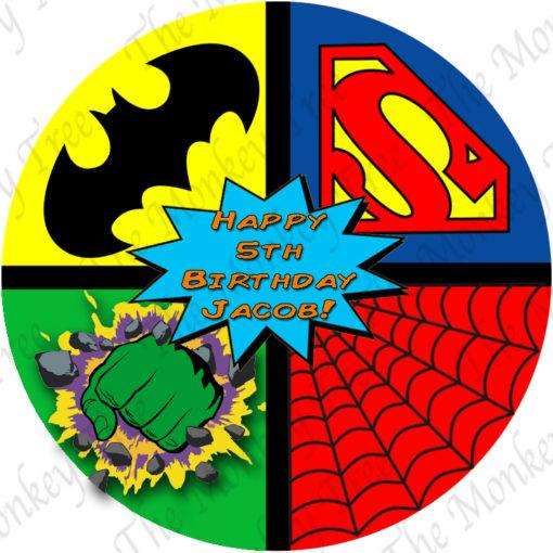 superhero cake batman Spiderman hulk superman birthday