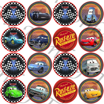 Disney cars lightning McQueen edible fondant cupcake topper image birthday racing car