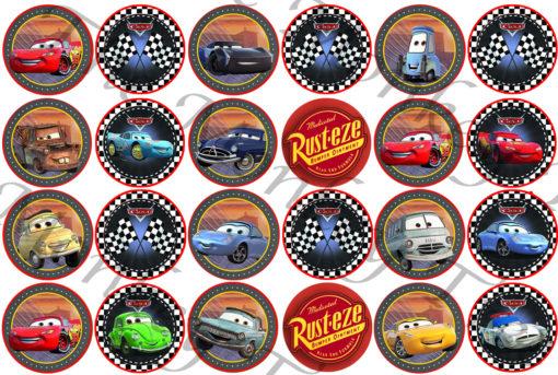 Disney cars lightning McQueen edible fondant cupcake topper image birthday racing car