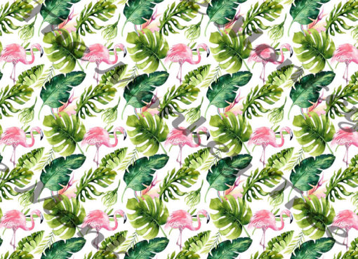 flamingo monstera pattern edible fondant cake cover birthday icing topper