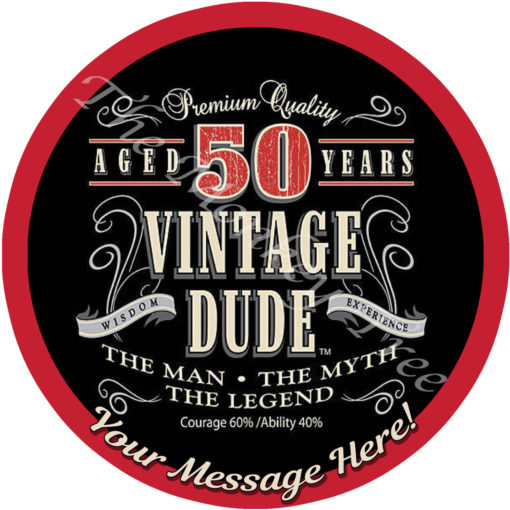 vintage dude edible cake image topper birthday 40th 50th 60th 70th