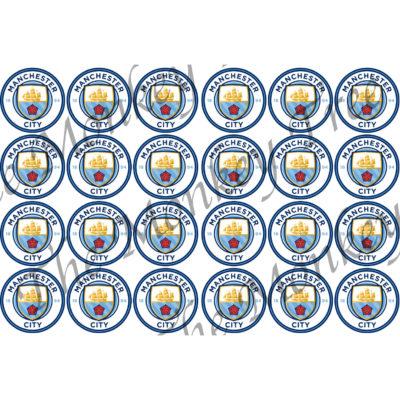 manchester city edible cake image fondant cupcake logo football soccer birthday party