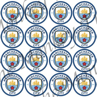 manchester city edible cake image fondant cupcake logo football soccer birthday party
