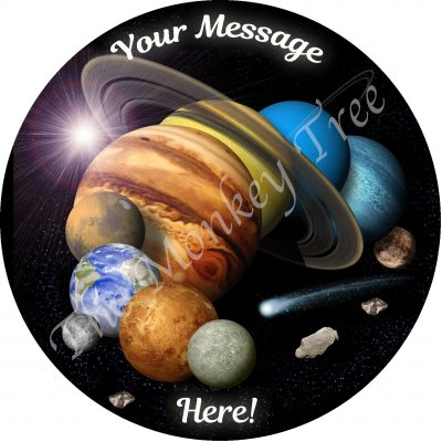 solar system planets earth mars moon Jupiter space birthday cake edible image
