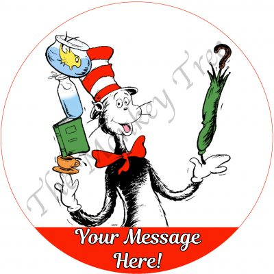 cat in the hat edible cake image topper fondant birthday party
