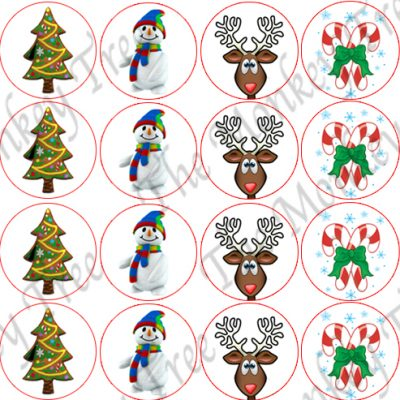 christmas snowman edible cake topper fondant party Santa cupcake reindeer candy