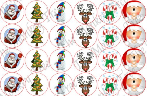 christmas snowman edible cake topper fondant party Santa cupcake reindeer candy