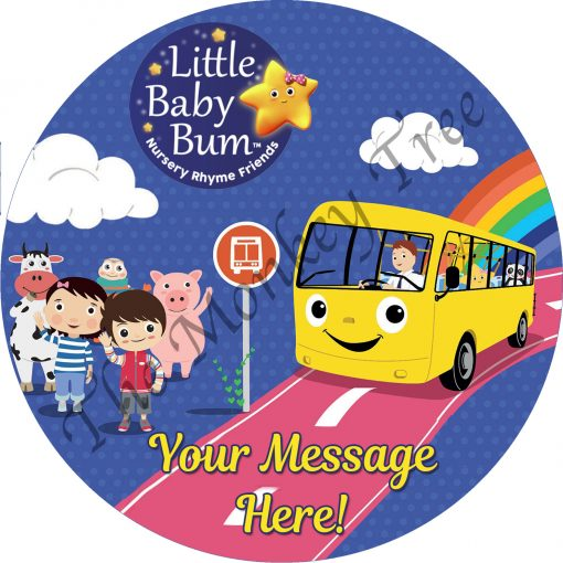 little baby bum edible cake topper image Auckland birthday party cake wheels on the bus